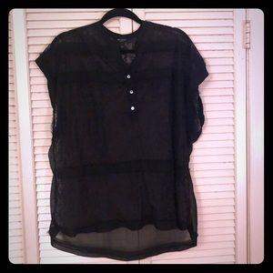 {Nine West}All lace raw cut flowy oversized blouse